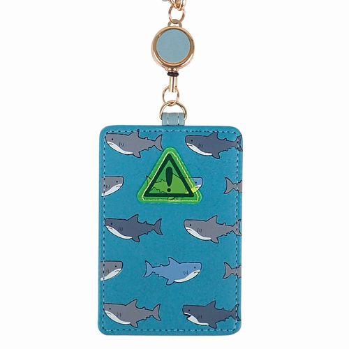 パスケース 定期入れ ファッション小物 レディースファッション サメ イラストプリント バッグに取り付けられる 出し入れ楽々 シンプル